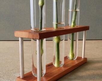 Test Tube Vase, Glass, Wood, Metal Bud Vase, With Three Tubes