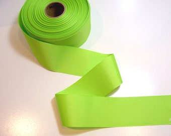 Wide Green Ribbon, Bright Chartreuse Green Grosgrain Ribbon 2 1/4 inches wide x 10 yards