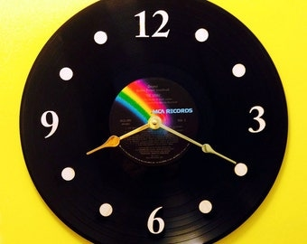"Vinyl Record Clock, Wall Clock, The Sting movie soundtrack, Record, Recycled Music Record, 12"" Record, Battery & Wall Hanger, Item #10"