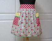 Womens Retro Half Apron, Handmade Modern Chic Cute Kitchen Waist Aprons