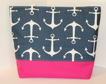 Anchor Tote Beach bag . ANCHORS Navy blue . Choose Your Accent Color . Standard size . bridesmaid gift  sorority bags Monogrammed Available