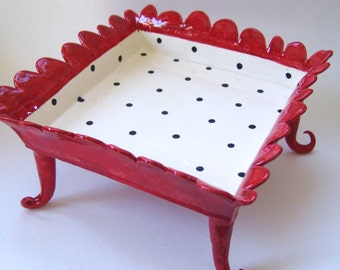 ceramic Serving Dish black & white red all over polka-dots tall curly legs whimsical pottery alice-in-wonderland