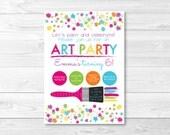 Art Party Birthday Invitation / Rainbow Art Party / Painting Party / PRINTABLE
