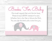 Pink Elephant Chevron Baby Shower Book Request Cards INSTANT DOWNLOAD