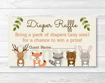 Woodland Forest Animal Diaper Raffle Tickets / Fox Deer Bear Raccoon Rabbit / INSTANT DOWNLOAD