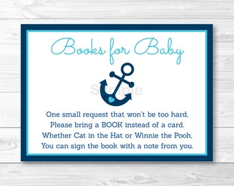 Nautical Anchor Baby Shower Book Request Cards PRINTABLE INSTANT DOWNLOAD
