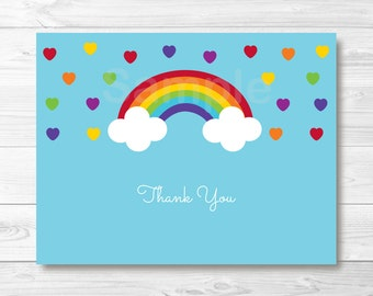 Cute Rainbow Thank You Card / Rainbow Baby Shower / Rainbow Birthday / Rainbow Hearts / Folded Card / PRINTABLE  Instant Download