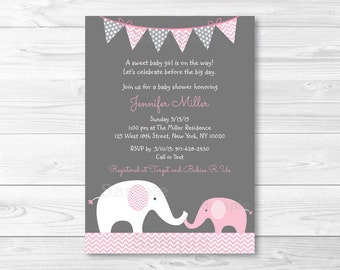 Cute Pink Elephant Baby Shower Invitation / Elephant Baby Shower Invite / Chevron Pattern / Pink & Grey / Baby Girl Shower / PRINTABLE