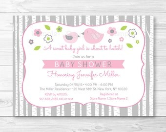 Cute Bird Baby Shower Invitation / Bird Baby Shower Invite / Woodland Bird Invitation / Pink & Grey / Baby Girl Shower / Printable