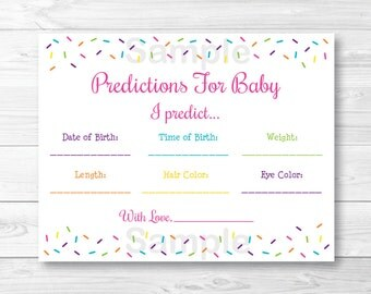 Pink Baby Sprinkle Baby Predictions / Baby Girl Sprinkle / Baby Sprinkle Game / Printable / INSTANT DOWNLOAD A109