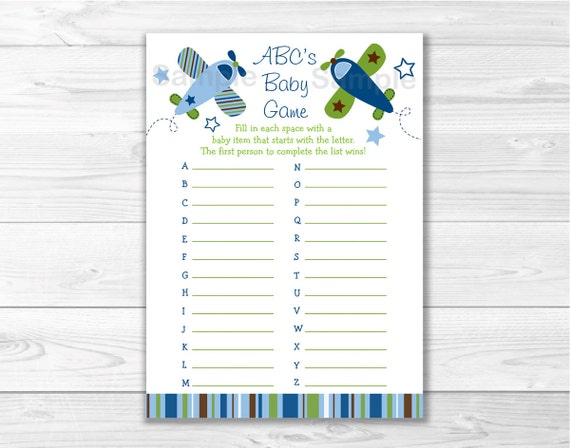 baby abc game airplane baby shower cute airplane shower game