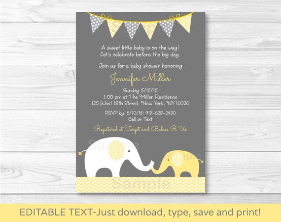 Yellow Chevron Elephant Mom /& Baby Printable Baby Shower Invitation Editable PDF