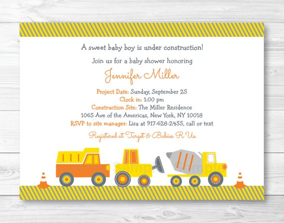 construction truck baby shower invitation construction baby shower