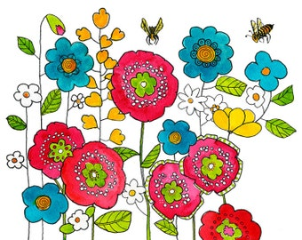 Floral Print, Flowers, Wall Art Decor, Garden Honey Bee, Colorful Watercolor, Botanical | Various Sizes