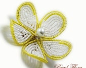 beaded bridesmaids hair flower clip fascinator,  French beaded yellow and  white hair flower or brooch , citrus lemon