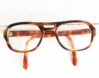 Vintage Nerd EyeGlasses - Espress and Caramel Brown - Prescription - Glass Lenses