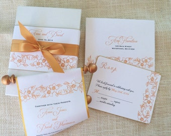 Gold Wedding Invitation Suite, Boxed Fabric Scroll with Romantic Floral Accents, Formal Invitations {25}