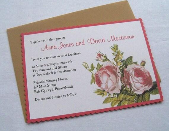 Boho chic wedding invitation, vintage shabby roses, rustic wedding invitation, country wedding, garden wedding, 25 invitations