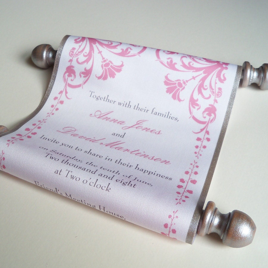 Fairytale Wedding Invitation Wedding Invitation Scroll With