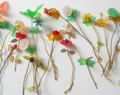 Collection of Vintage Plastic Flowers • Plastic Leaves Birds Flowers