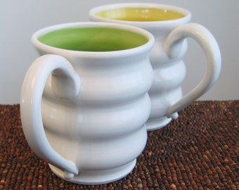 Large Coffee Mugs - Stoneware Pottery Beehive Cups in Lemon Yellow and Lime Green - Set of 2