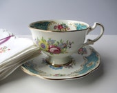 Vintage Royal Standard English Bone China Turquoise Pink Floral Teacup & Saucer