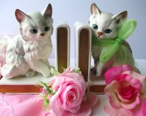 Vintage Lefton White Blue Eyed Kitten Bookends Pair - So Sweet