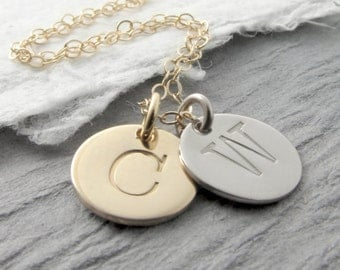 14k White And Yellow Gold Personalized Necklace Gold Initial Necklace White Gold Necklace Mixed Metals Mother's Day Gift