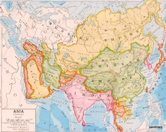 1903 Original Antique Rand McNally Political Map of Asia