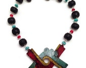 In Lak'ech I Am You You Are Me Handcolored Copper Statement Necklace Mexican Mayan