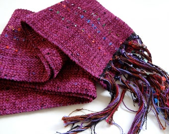 Christmas in July sale handwoven scarf in marsala chenille