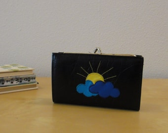 Vintage Black Sun and Clouds Wallet - Vegan