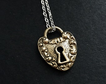 Antique gold heart padlock skeleton key charm necklace