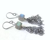 labradorite and silver dangle earrings, green and blue stone earrings, oxidized earrings