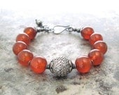 spicy orange red carnelian and silver bracelet, boho chunky orange stone bracelet, rustic bracelet