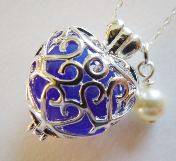 Heart Locket Sea Glass Necklace Blue Beach Glass Pendant Necklace Seaglass Jewelry