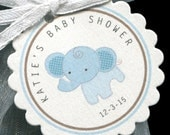 25 Personalized Baby Shower Favor Tags - Baby Shower Favor Tag - Baby Boy - Favor Tags - Elephant Baby Shower - Jungle - Blue - Gift Tags