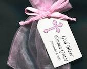 Girls Baptism Favor Bags - Christening Favor - Favor Tag - Favor Bag - Candy Bag - Personalized Tag - Pink Organza Bag - Pink Cross