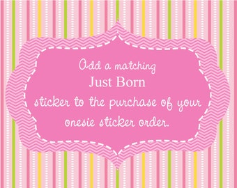 Baby Monthly Sticker Add On/ Add a Matching Just Born Sticker to Your Monthly Baby Stickers Purchase
