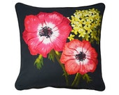 XL Cushion cover for throw pillow with bird - Anemones - 24x24inch // 60x60cm