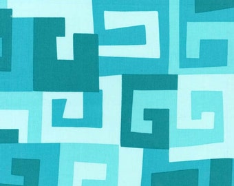 Michael Miller Maze Turquoise Fabric, 1  yard