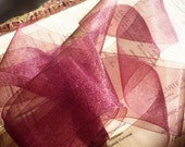 "Ribbon by the Roll....Burgundy Organdy Ribbon (30 yds  - 2"")"