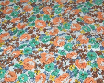 vintage 80s cotton print fabric, featuring pretty floral design, extra wide, 1 yard, 2 available priced PER YARD
