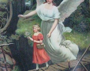 guardian angel print . 1920s  litho . Guardian Angel Litho .  Germany Litho