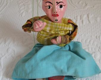 Vintage Puppet  . Vintage Marionette . woman puppet . hand painted puppet