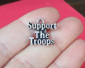 """10, """"Support The Troops"""" Charms 18x18mm ITEM:AS15"""