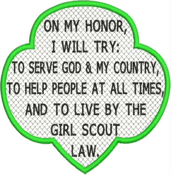 Girl scout law and promise embroidery designs