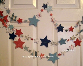 Red...White...and Blue Star Garland...9 feet of Die cut Stars...Antique looking designer papers and 80 lb card stock...machine stitched!