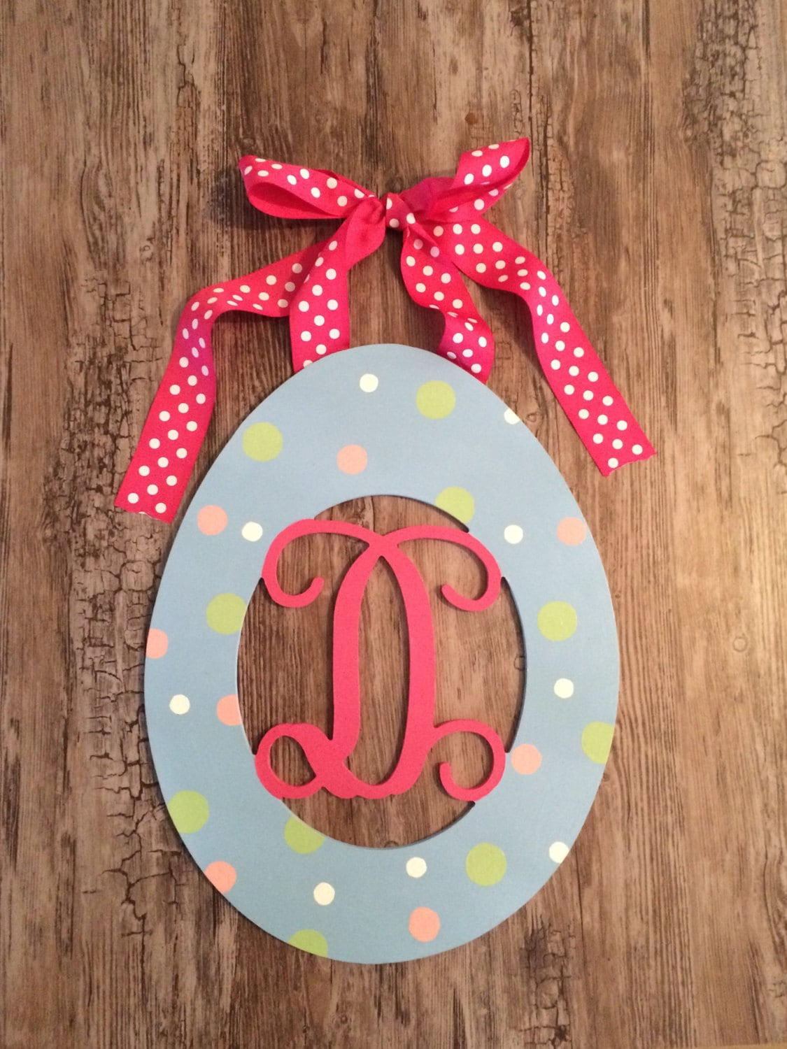 Wooden easter egg painted decor wood initial by - Painted wooden easter eggs ...