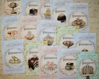 French Desserts - Patisserie - Carte Postale - Elegant - Chic - Your Choice of stickers, notecards or Gift Tags - Set of 15 - CPT 665673